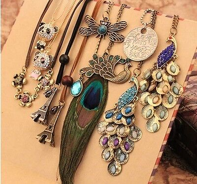 Multi Pattern Pendant Necklace Long Chain OL Lady Girl Retro Vintage Sweater New