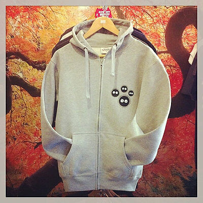 Totoro and Soot Sprite Inspired Zip Hoodie My Neighbour Totoro Studio Ghibli