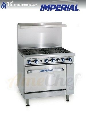 "New 36"" Gas Commercial Range,  6 Open Burners, 1 Oven, IMPERIAL IR-6"