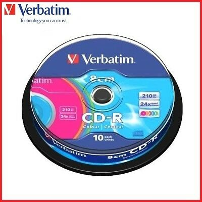 Verbatim CD-R 210MB 8cm 24x Speed Colour Mini CD-R Discs Spindle Pack 10 (43413)