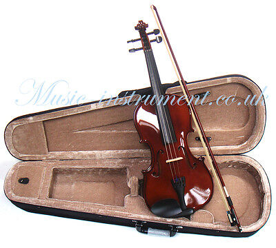 Masters 3/4 size violin with bridge, strings, bow and carry case