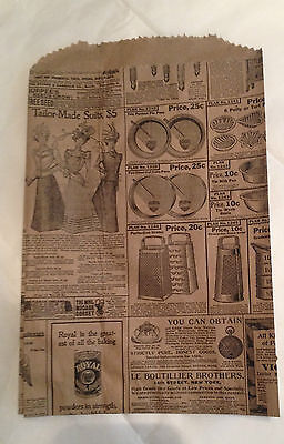 """NEW 6""""x 9"""" Small Newsprint Paper Merchandise Gift  Bags LOT OF 100 great quality"""