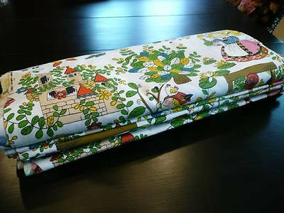 Vintage Colorful Childrens Home Decor Upholstery Drape Fairy Tale Fabric 16 Yrds