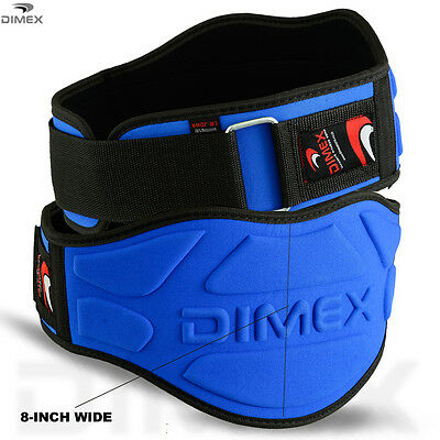 "Weight Lifting Belts Fitness Gym Workout Neoprene 8"" Wide Support Brace BLUE"