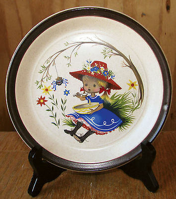 "1960s Doverstone England Nursery Rhyme 7 1/8"" Miss Muffett Child's Plate EXCELL."