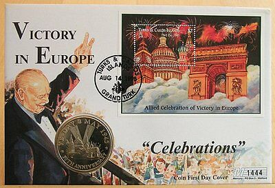 First Day Coin Cover-Victory in Europe Celebrations 1995 5 Crowns Turks & Caicos