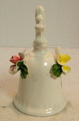"""Vintage Nuova Capodimonte Floral Bell with Tags 4.5"""" x 2.5"""" Very Good Condition"""