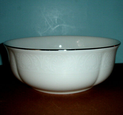 Lenox HANNAH PLATINUM Round Serving Bowl Ivory w/ Grecian motif New