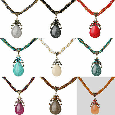 New Ethnic Charms Crystal Glass Beads Owl Resin Rope Drop Chain Necklace Pendant