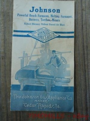c.1920 Johnson Gas Appliance Co Tool Catalog Bunsen Burners Bench Furnace Torch