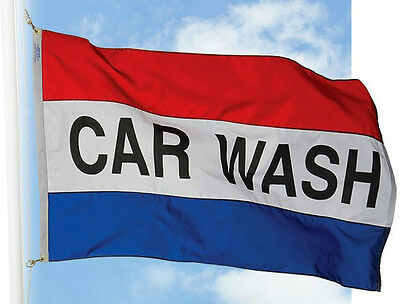 NEW CAR WASH FLAG BANNER 3 X 5 ft SIGN WITH 2 BRASS GROMMETS