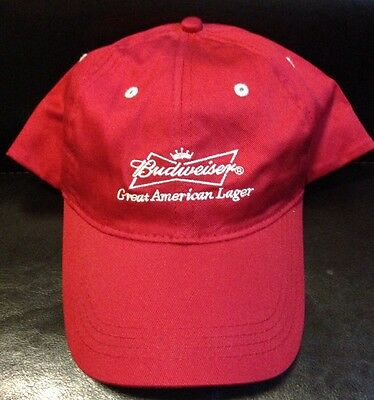 NEW Budweiser Hat Cap Red and White Men's Adjustable