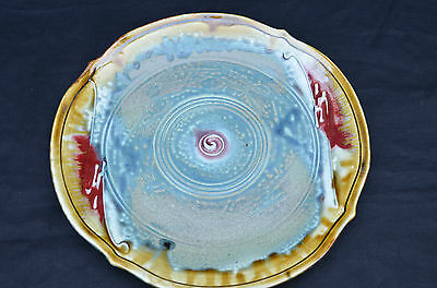 """ART POTTERY DECORATIVE HAND MADE LARGE PLATE WITH DESIGN  SIGNED 11.5"""""""