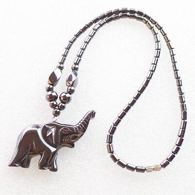 WH3859 Beautiful Unique Hematite Carved Elephant Necklace 17.5 inch