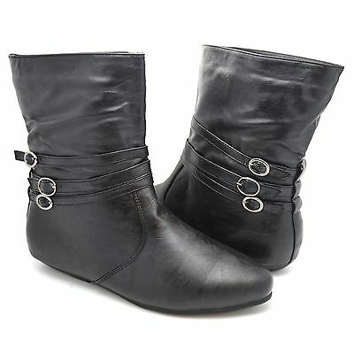 New Womens Girls Ladies Fashion Black Flat Low Heel Ankle Boots Pull On Size 505