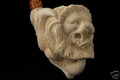 Lion in an Eagle's Claw Hand Carved Block Meerschaum Pipe in a fitted Case 5917