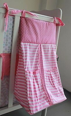 NEW High Quality Embroidered Nursery Diaper Nappy Stacker Pink Coloured Circles