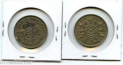 Great Britain 1956 & 1950 2 Shilling Two Coin Collection - Very Nice Lot