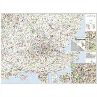 *brand New* Laminated Wall Road Map Of South East & London Uk © 053343 Mmc Rrm8