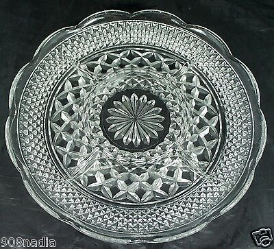 VINTAGE EAPG OLD AMERICAN ROUND GLASS SERVING DIVIDED TRAY