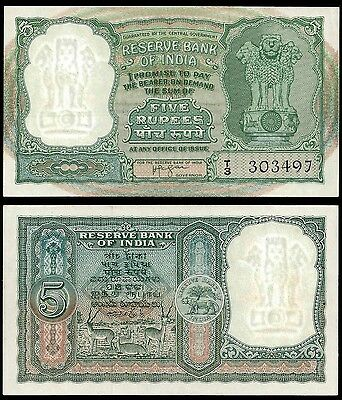 India 5 RUPEES Sign 74 First serie ND P 35a UNC