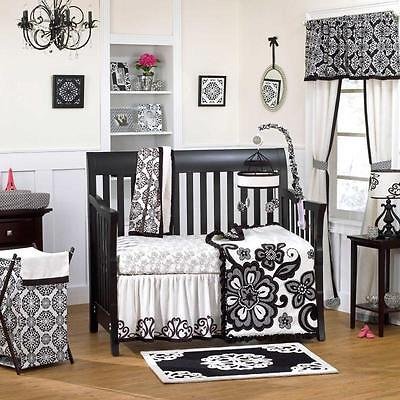 5pc Black & White Fancy Floral Flower Patterned Baby Girl Crib Bedding w/ Bumper
