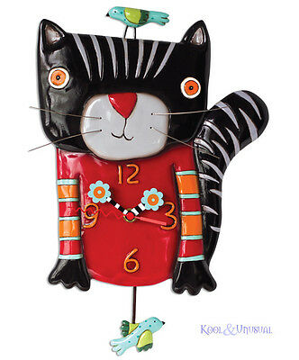 """Adorable """"Knitty Kitty"""" Black Cat Designer Wall Clock by Allen Designs"""