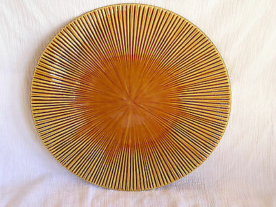 Colin Cowie JCP Penny Home Large Brown Gold Ribbed Dinner Plate Dish RARE!    c