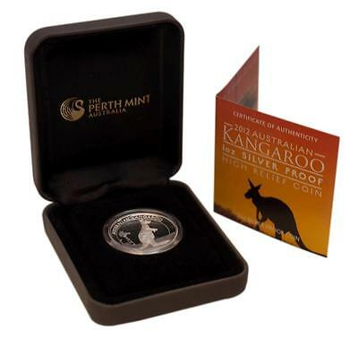 2012 1 oz Proof Silver Australian High Relief Kangaroo Coin .999 Silver #A276