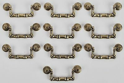 Pack Of 10 Antique Brass Traditional Drop Drawer/Cabinet Pull Handles