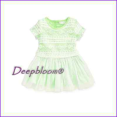 GUESS BABY DRESS LACE GIRLS SZ 12 18 24 MONTHS WHITE GREEN NEW