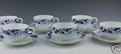 6 Sets Vintage Japanese Porcelain Fukagawa Koransha Blue Cups and Saucers