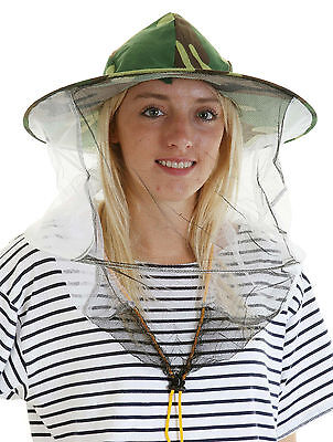Beekeeping CAMOUFLAGE BEE HAT AND VEILS - Double hoop and toggle x 5