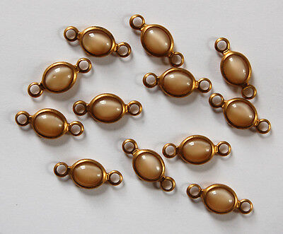 VINTAGE 12 TAN MOONSTONE MOON STONE CONNECTOR BEAD BRASS OLD 21 x 10mm