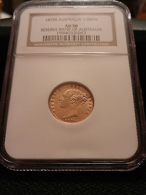RARE GOLD COIN 1875S  Australian Half Sovereign Victoria Young Head  AU50 NGC