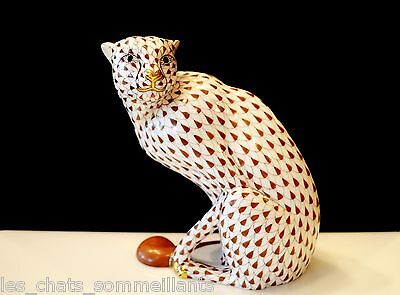 HEREND, SEATED CHEETAH PORCELAIN FIGURINE, CHOCOLATE FISHNET