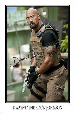 Dwayne 'the Rock' Johnson Large Signed Autograph Photo Print, Looks Great Framed