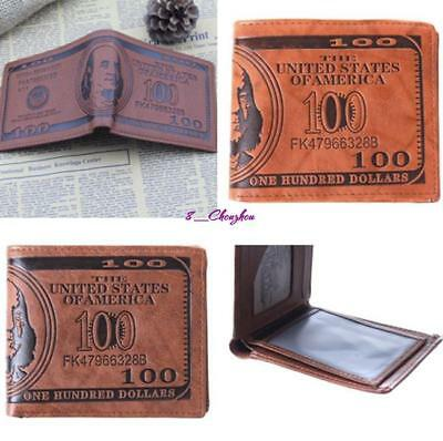 Men's Leather US Dollar Bifold Credit Card Holder Bill Money Wallet Xmas Gift-C