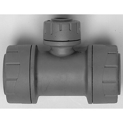 5 x Polyplumb 22-22-10mm reducing tees. Polypipe push fit plastic reducer. 22mm