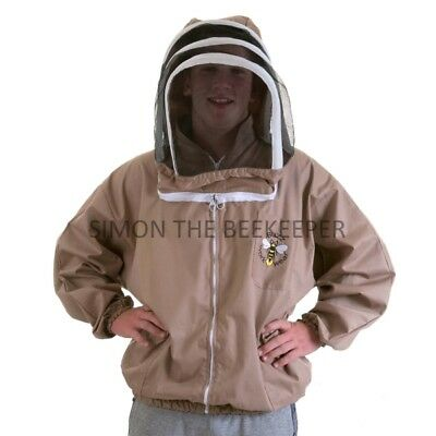 BUZZ Beekeepers BEE JACKET, Cappuccino with fencing hood . Size: MEDIUM