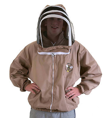BUZZ Beekeepers BEE JACKET, Cappuccino with fencing hood . Size: LARGE