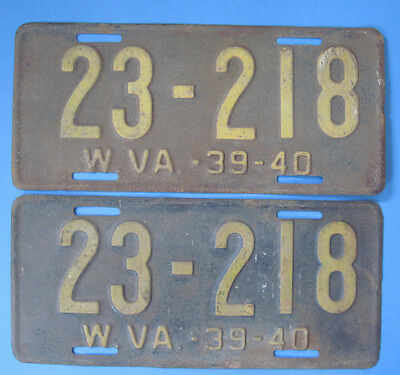 1939-40 West Virginia matched pair License Plates