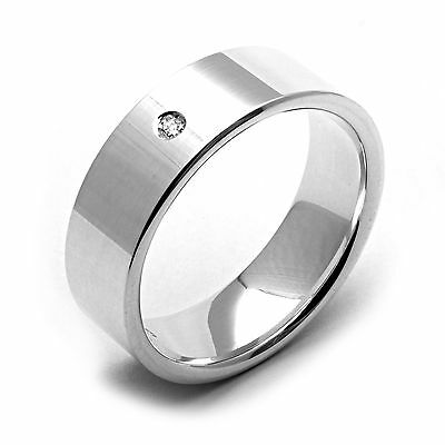 New Mens 7mm Wide .925 Sterling Silver Wedding Band Diamond Ring Any Size 4 - 14