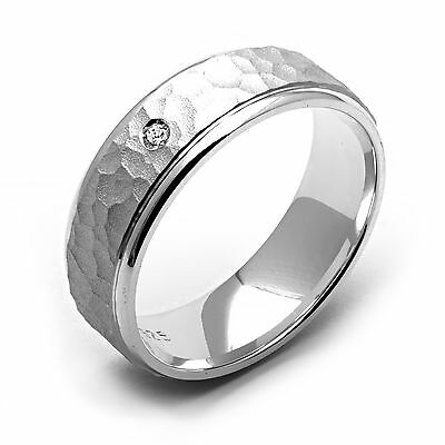 New Mens Fashion Diamond Ring. 925 Sterling Silver Hammered Wedding Band 4 - 14