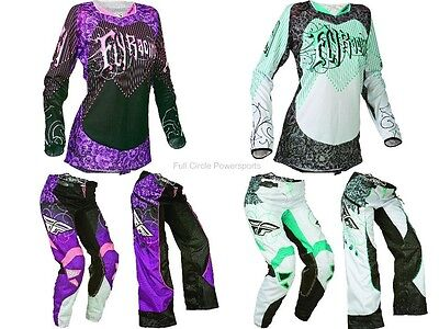 Fly Racing Kinetic Women's Girl's Pink Teal White Jersey & Pants Motocross Gear