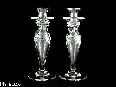 Vintage Cut Glass Thumbprint Candle Holders Candlesticks