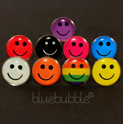 FUNKY BOYS MENS SINGLE SMILEY FACE EARRING PUNK INDIE DANCE HAPPY RAVE 80s 90s