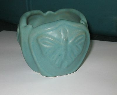 VINTAGE Van Briggle Signed Small Mulberry Butterfly Low Vase