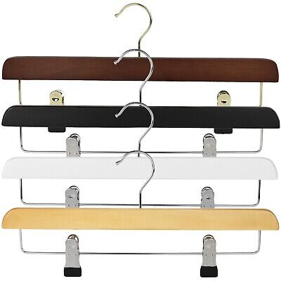 The Hanger Store™ Wooden Trouser, Skirt Hangers With Clips, Coat Clothes Hangers