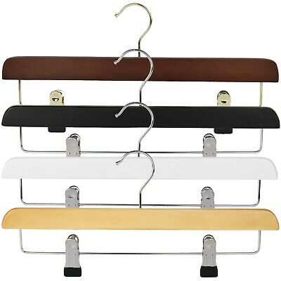 Wooden coat clothes hangers with rubber ended clips and bar for trousers, skirts